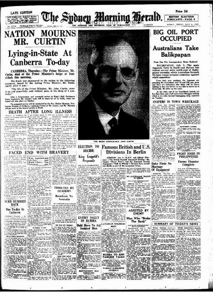 John Curtin death, 1945, Sydney Morning Herald (image)