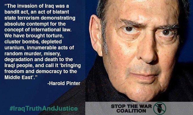 Harold Pinter on the Iraq War (Nobel Prize speech, 2005) (image)
